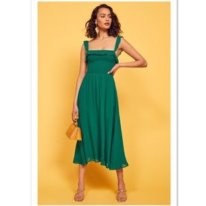 Reformation Siesta green slit dress NEW XS